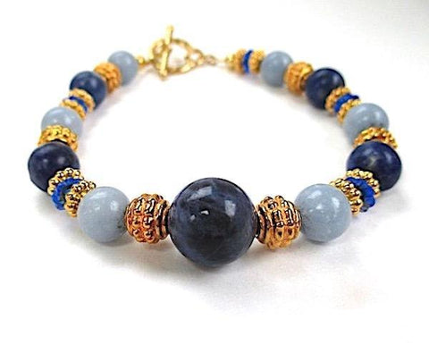 Blue Gemstone Bracelet with Gold Accents and Toggle Clasp