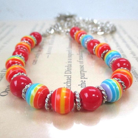 Bold MultiColor Beaded Necklace, Silver Chain and Flower Toggle Clasp