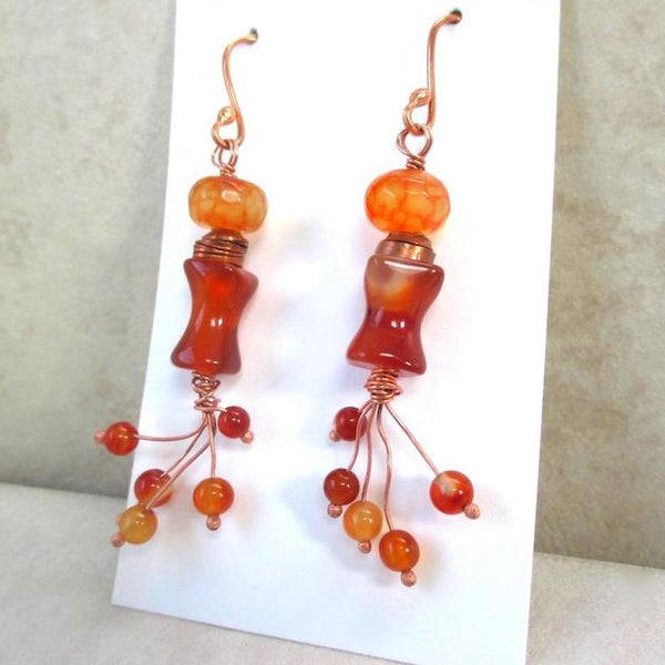 Long Boho Earrings with Orange & Red Carnelian Agate and Copper