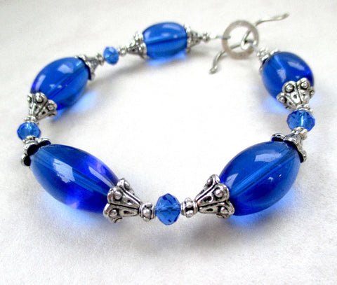 Cobalt Blue & Antique Silver Bracelet