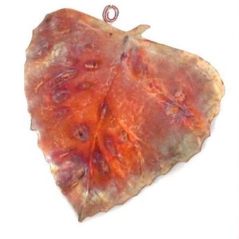 Colorful Copper Autumn Birch Leaf Wall Hangings, Fall Home Decor