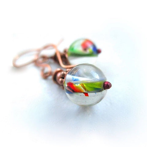 Colorful Earrings with Multicolor Lampwork Glass and Copper