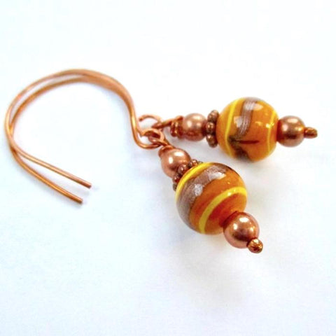 Copper and Pumpkin Spice Autumn Earrings
