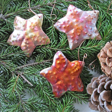 Copper Starfish Christmas Ornaments Set of 3 Decorations