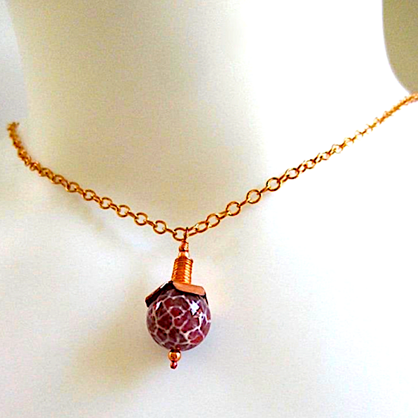 Dark Red Agate Gemstone & Copper Pendant Necklace