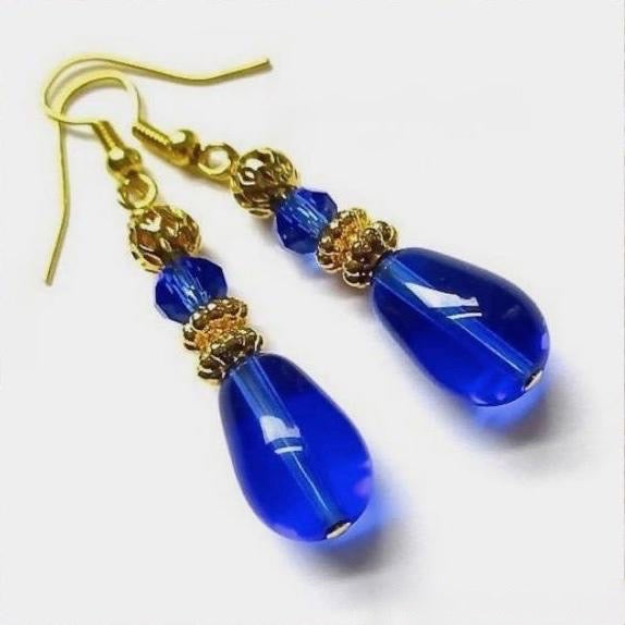 Elegant Blue Earrings with Cobalt Teardrops, Sapphire Crystals, Gold Accents