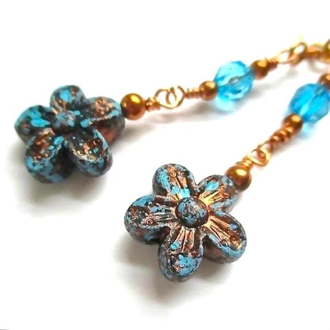 Floral Earrings, Turquoise Blue and Copper Flowers on Long Dangles