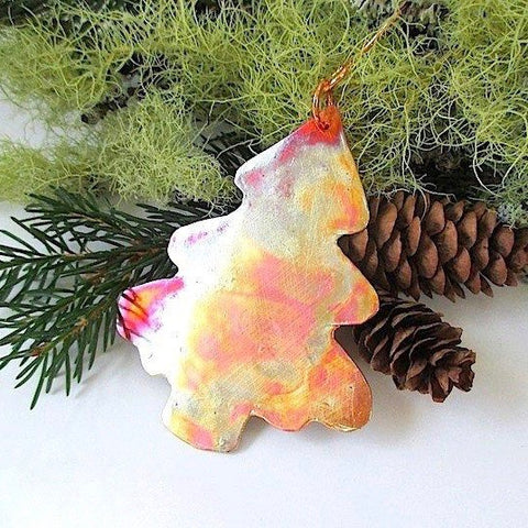 Forged Copper Christmas Ornament Pine Tree Decoration