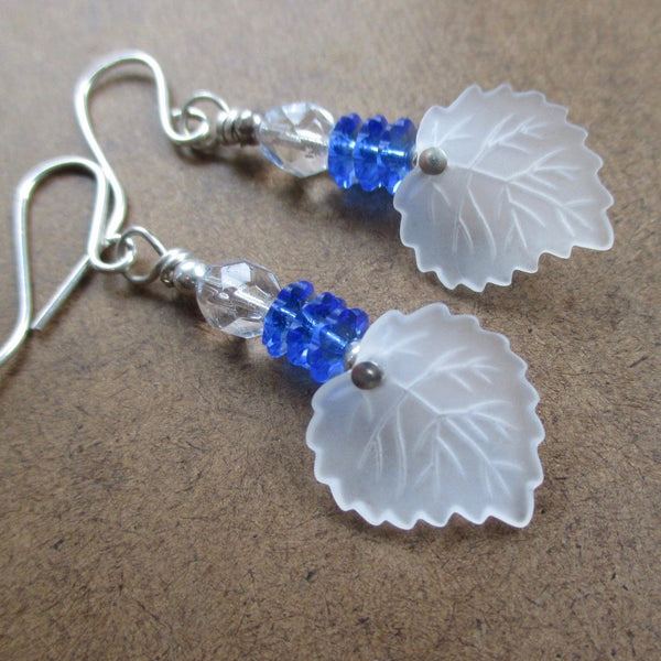Frosted White Leaf Earrings with Sapphire Blue Crystals and Sterling Silver