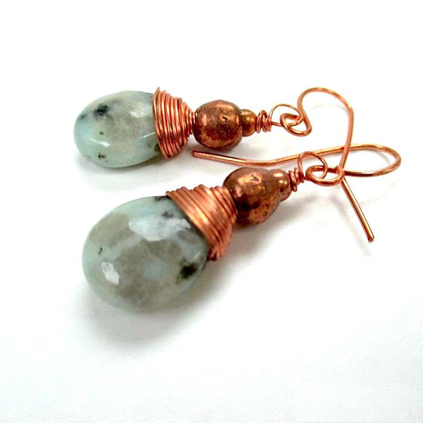 Gemstone Teardrop Earrings, Blue Green Jasper, Copper Beads and Wire
