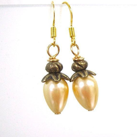 Golden Yellow Pearl Drop Earrings with Antique Brass