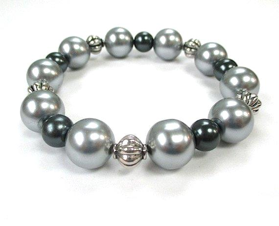 Gray Pearls and Silver Beaded Chunky Stretch Bracelet