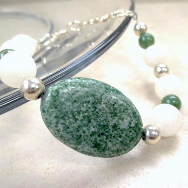 Green and White Bracelet, Gemstones and Sterling Silver