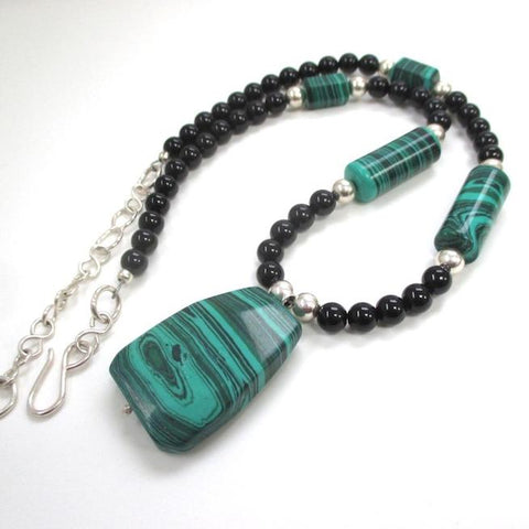 Green Gemstone Pendant Necklace Malachite, Black Onyx, Sterling Silver