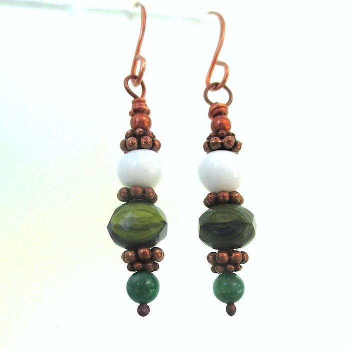 Green Blue and White Earrings with Gemstones, Czech Glass and Copper