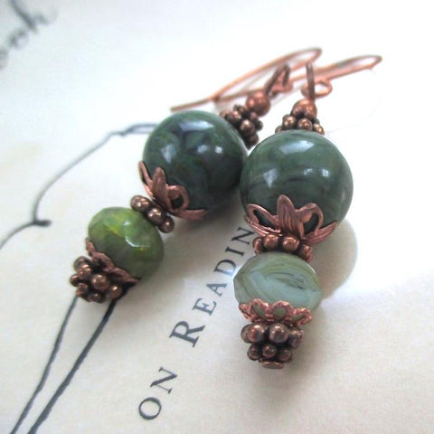 Green Earrings with Czech Glass, Vintage Lucite and Antiqued Copper
