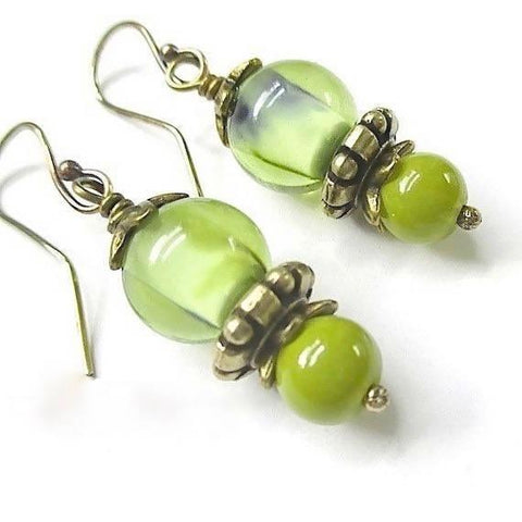 Spring Green Earrings with Lampwork and Antique Brass