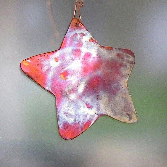 Large Metal Star Copper Christmas Holidays Tree Ornament