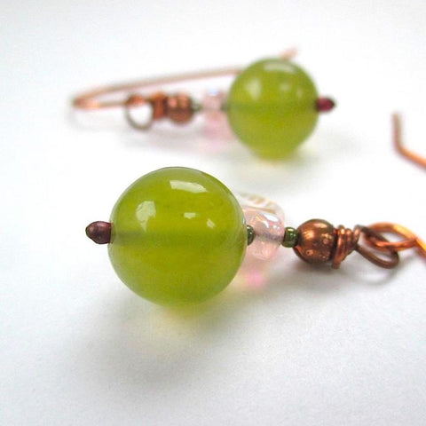 Little Green Apples Gemstone Earrings, Olive Jade Stones, Copper
