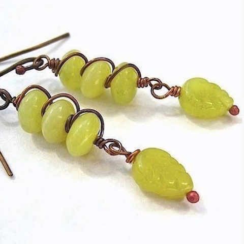 Olive Green Gemstone Earrings, Serpentine Shoulder Dusters Dangles, Antiqued Copper
