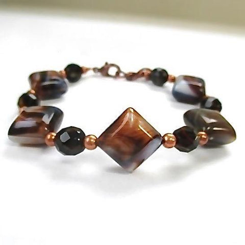 Mocha Cream Chunky Bracelet Czech Glass Tiger Eye & Copper