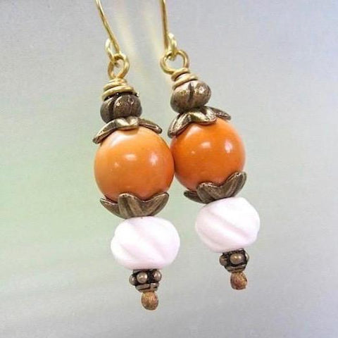 Orange and White Earrings: Vintage Beads, Carved Bone, Antique Brass