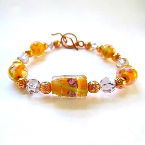 Peach Lampwork Bracelet with Crystals and Copper