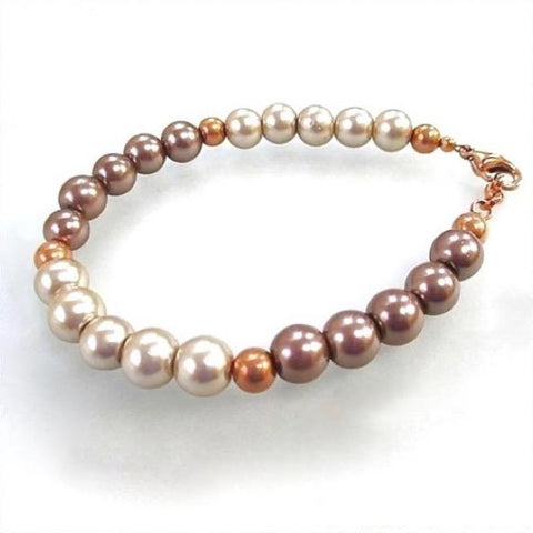 Pearl Bracelet Cream and Mocha Mauve with Copper Lobster Claw Clasp