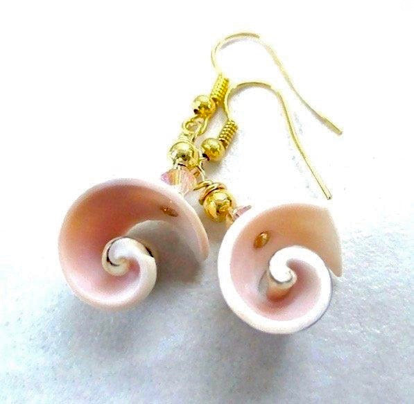 Pink Peach Shell Earrings with Seashells & Gold Bead Earwires