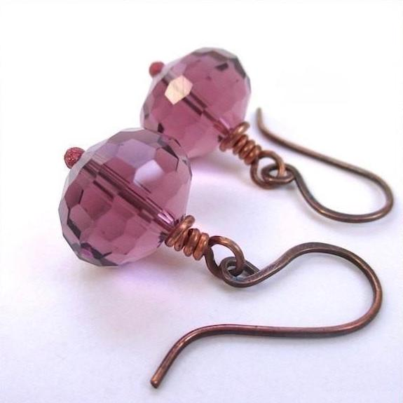 Plum Purple Earrings with Glass Crystals and Antiqued Copper