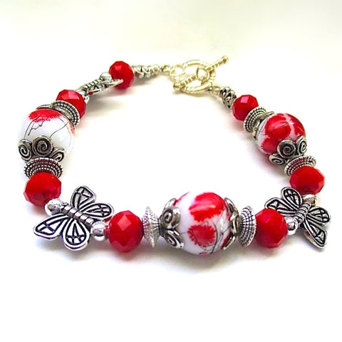 Red and White Bracelet with Silver Butterflies