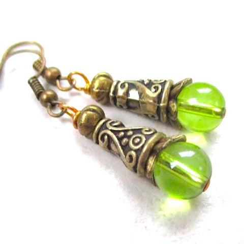 Renaissance Earrings with Green Glass Beads and Antique Brass Cones