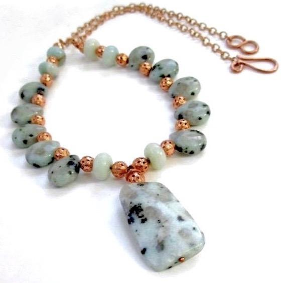Sesame Jasper Aqua Pendant Necklace with Opal Gemstones & Copper