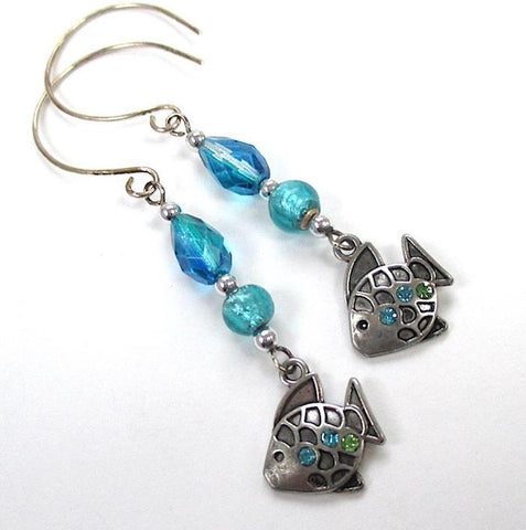 Silver Fish Earrings Aqua Blue Green Beaded Shoulder Duster Dangles