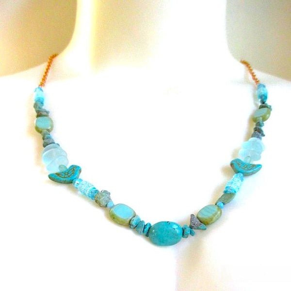 Sky Light Blues Necklace with Gemstones, Glass Beads and Copper Chain