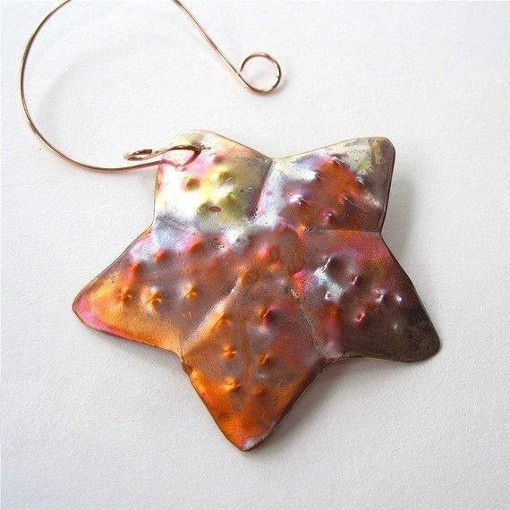 Copper Starfish Christmas ornament, Beach theme holiday decor, hand forged, hammered bumpy texture, flame washed colors.