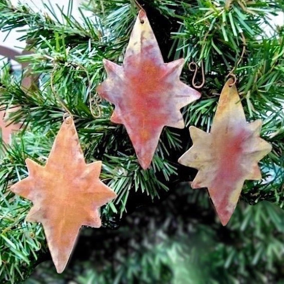 Set of 3 Copper Christmas ornaments, hand forged Stars of Bethlehem rustic holiday decorations.