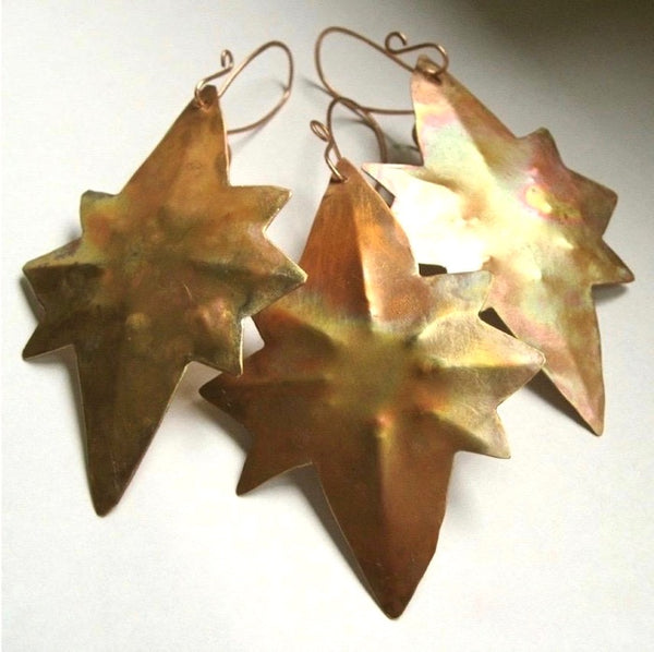 Copper Christmas ornaments, 3 Stars of Bethlehem, hand forged rustic hammered metal holiday decorations.