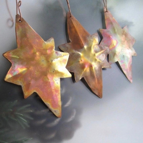 Colorful Copper Christmas Star of Bethlehem ornaments, set of 3 hand forged rustic holiday decorations.