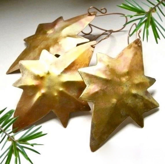 Hammered Copper Christmas tree ornaments, hand forged metal Stars of Bethlehem holiday decorations. Set of 3 stars.