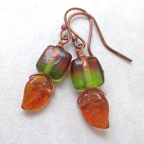 Sweet Autumn Leaves Earrings with Green & Amber Glass and Copper