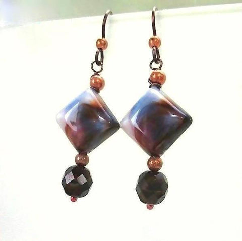 Tiger Eye Earrings Earth Tone Brown & Cream Glass, Copper
