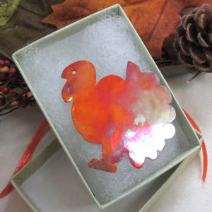 Turkey Brooch Colorful Copper Thanksgiving Jewelry