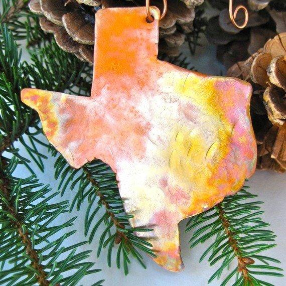 Handcrafted rustic copper state map Christmas tree ornament. This example: Texas TX map