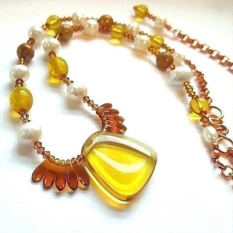 "alt=""Warm Tones Dressy Necklace Amber Glass, Pearls, Copper Chain close up"""