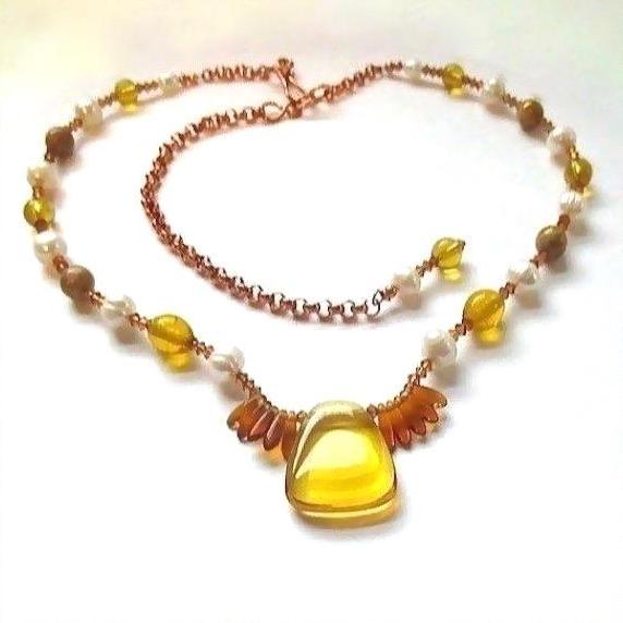 "alt=""Warm Tones Dressy Necklace Amber Glass, Pearls, Copper Chain full view"""