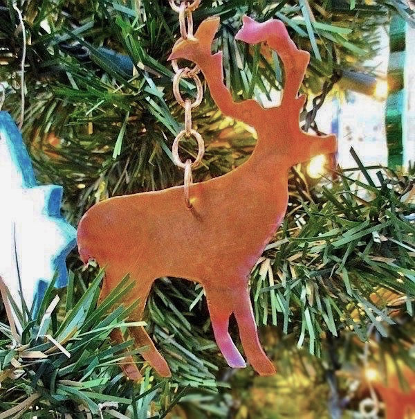 Woodland Christmas Decoration Copper Deer Holiday Ornament