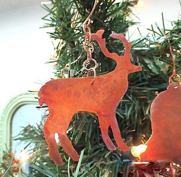 Woodland Christmas decoration copper deer, reindeer holiday ornament.