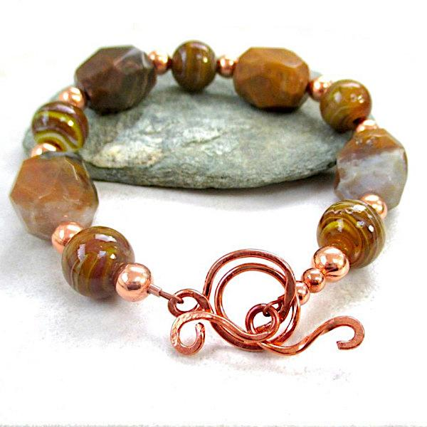 Chunky Brown Agate Bracelet Earth Tone Jewelry