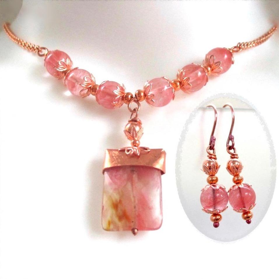 Pink Stone Necklace & Earrings Set with Cherry Quartz, Copper